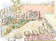 観賞用の和風庭園 イメージスケッチ 画像